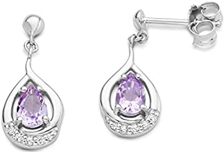 Byjoy 925 Sterling Silver Oval Cut Amethyst Dangle Earrings BAE096E