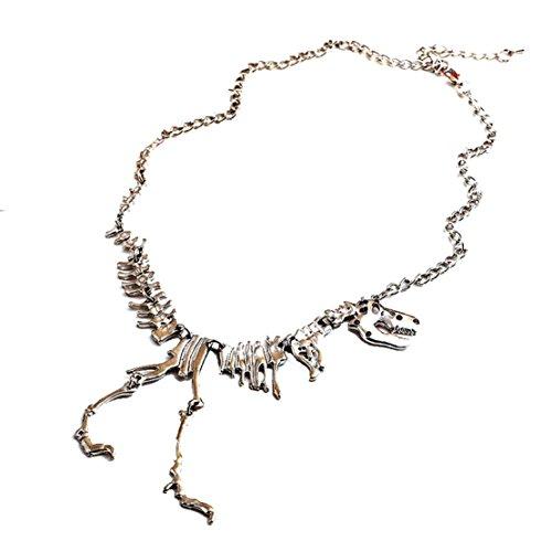 TowallmarkTM-Steampunk-Goth-Alloy-Dinosaur-Skeleton-Dead-Tyrannosaurus-T-Rex-Charm-Necklace-Silver