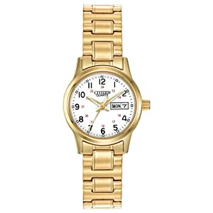 Citizen EQ0582-90A Women's Bonica White Dial Gold Plated Steel Expansion Bracelet Watch