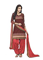 Divisha Fashions Maroon and Pink Embroidered Cotton Dress Material with dupatta