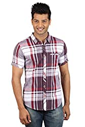 Le Tailor Men's Slim Fit Casual Checkered Shirt (SLCHS105,Maroon & Red)