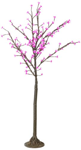 Arclite Nbl-130-2 Cherry Blossom Tree With Leaves, 4.5' Height, With Natural Brown Trunk, Pink Crystals And Pink Lights