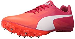 PUMA Women\'s Evospeed Sprint V6 Track Spike Shoe, Fluorescent Peach/White/Rose Red/White, 9.5 B US