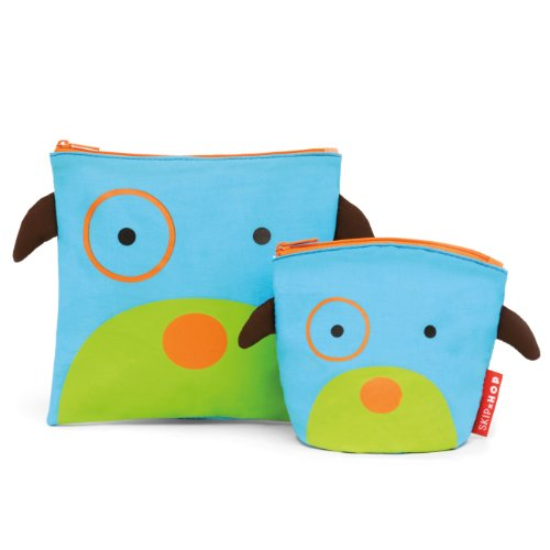 Skip Hop Zoo Reusable Sandwich and Snack Bag Set,