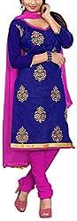 Fabiola Trendz Women's Cotton Silk Unstitched Dress Material (Blue )