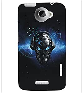 PrintDhaba Mask D-5179 Back Case Cover for HTC ONE X (Multi-Coloured)