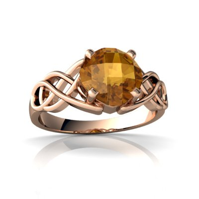 14Kt Rose Gold Citrine Cushion Celtic Knot Ring - Size 7