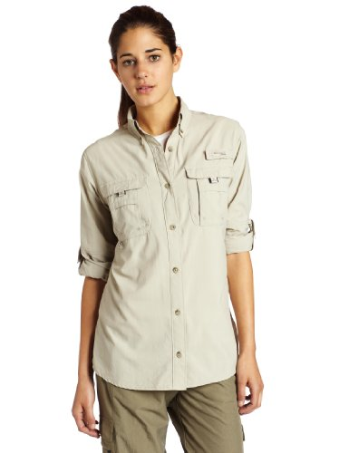 Columbia Women's Bahama Long Sleeve Shirt, Fossil, X-Large
