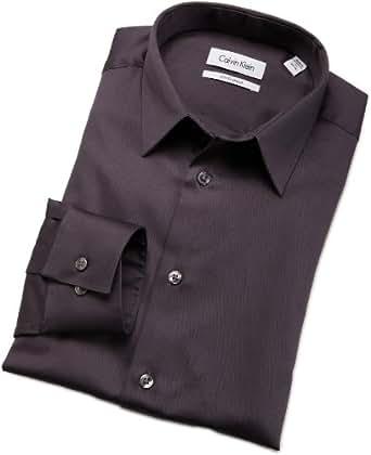 Calvin Klein Mens Body Dress Shirt, Coal, 17.5/32-33