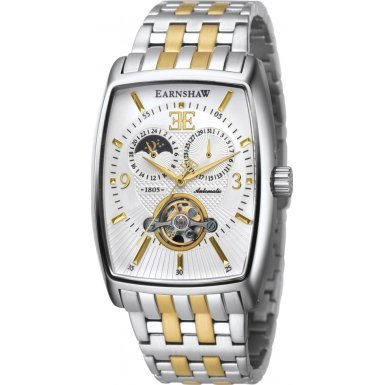 Thomas Earnshaw ES-8010-33 Mens Robinson Sun and Moon Display Two Tone Watch