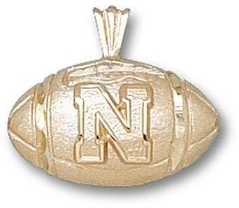 Nebraska Cornhuskers N Football Pendant - 14KT Gold Jewelry by Logo Art