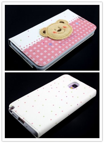 Big Dragonfly New Arrivals Eco Skin Cute 3D Pattern Folio Pu Leather Case With Cover For Samsung Galaxy Note 3 Iii With Built-In Stand, Card Slots And Two Tiny Suction Cups Retail Package(Brown Bear Smile & Happy)White & Pale Red