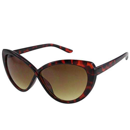 Birch'S Unique Cross Bridge Oversized Retro Vintage Cat Eye Fashion Sunglasses (Tortoise)