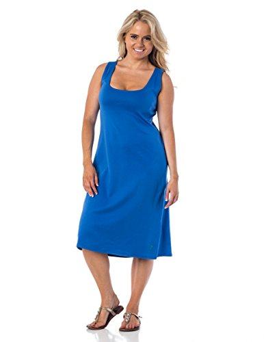 Alki'I 100% Cotton Sleeveless Scoop Neck A-Line Angelina Dress Blue Xl