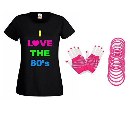Women's 1980s T-shirt with Fishnet Gloves, Gummy Bands -  Sizes from 8 to 16