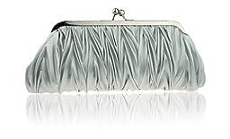 (Silver) Women Vintage Satin Pleated Evening Cocktail Wedding Party Handbag Clutch Purse - Zakka Republic (CLT-02-A)