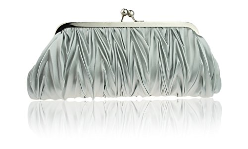 Women-Vintage-Satin-Pleated-Evening-Cocktail-Wedding-Party-Handbag-Clutch-Purse-wShoulder-Chain-by-Zakka-Republic