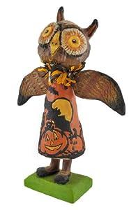 Bethany Lowe Folk Art Owl Paper Mache Figurine