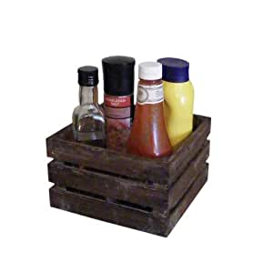 east2eden French Brown Vintage Wooden Condiment Holder Serving Crate Box Kitchen Storage Party Barbecue