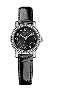 Tommy Hilfiger Rose Women's Quartz Watch with Black Dial Analogue Display and Black Leather Strap 1781474