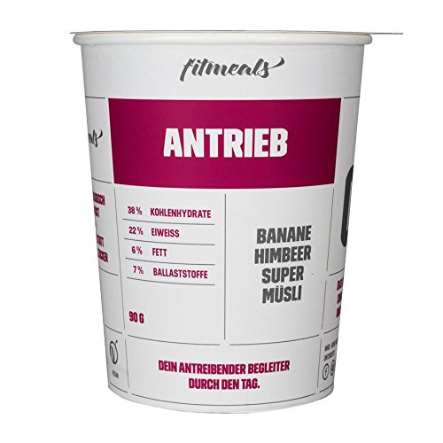 "Protein-Müsli Banane-Himbeere ""Antrieb"", 1er Pack (1 x 90 g), ""Energy Power"" vegan & ohne Zucker, fitmeals"