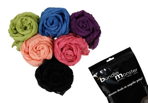 BMC Womens Fancy Crinkle Shawl Scarf Fashion Cotton Scarves Mixed Solid Color Lot-Set 1
