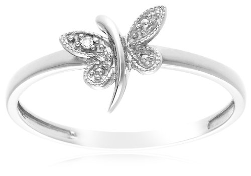 10k White Gold Dragonfly Ring with Diamond-Accent, Size 7