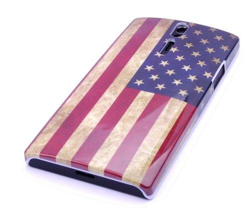 gada-Custodia per Sony Xperia S LT26i Custodia rigida motivo: bandiera USA in stile retrò