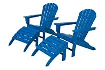 Hot Sale POLYWOOD PWS137-1-PB South Beach 4-Piece Adirondack Chair Set, Pacific Blue