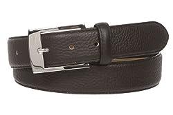 """Men's 1 1/4"""" (34 mm) Pebble Grain Leather Dress Belt Size: 40"""" Color: Brown"""