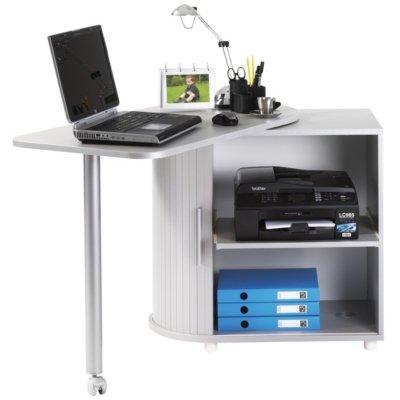 Simmob - Bureau Informatique Chêne Table Pivotante et Rangement - Coloris - Aluminium
