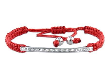 Sterling Silver Diamond Kabbalah Bracelet, (.1 Cttw, G-H Color I1-I2 Clarity), 7