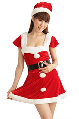 Pink Queen Womens Sexy Velvet Mrs Santa Claus Dress Christmas Costume Outfits