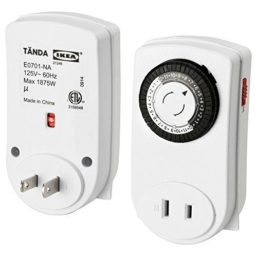 TANDA 24時間タイマー 2個セット / 屋内用・アースなし ホワイト[イケア]IKEA(90134444)