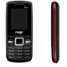 Rage Nino (Black+Red) Colour Dual SIM Mobile with Camera, FM Radio & Torch, special one touch music keys