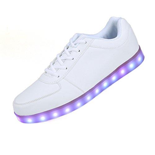 SAGUARO-Unisex-8-Colors-USB-Carga-LED-Luz-Luminosas-Flash-Zapatos-Zapatillas-de-Deporte-Para-Hombres-Mujeres-Blanco