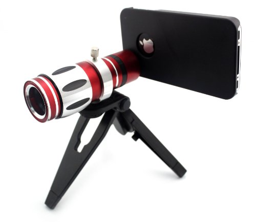 Big Dragonfly New Arrvial Unviersal Mobile Phone 12.5X Magnification Telephoto Lens With 1 Mini Tripod, 1 Holder, 1 Phone Case, 1 Cleaning Cloth And 1 Pouch Two Black Protectvie Lens Caps 8 Degree Angle Of View For Iphone 5 5S Retail Package (Black Red Si
