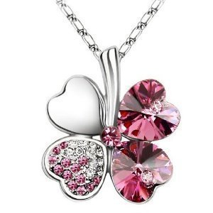 Lady Crystal Four Leaf Clover Pendant Necklace(Pink)