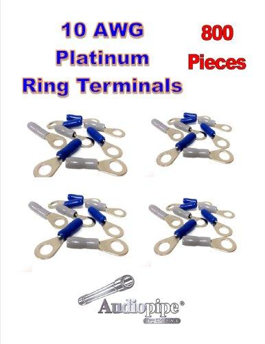 """10 Gauge Positive Negative 5/16"""" Hole Ring Terminals Connectors 800 Pieces Pbtrp-10"""