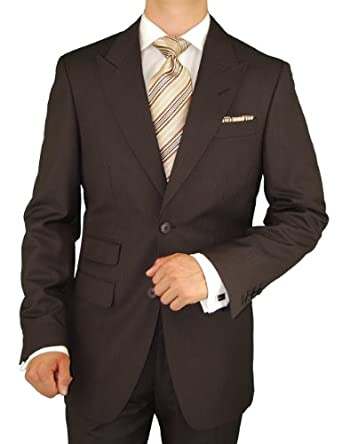 Gino Valentino Peak Lapel Ticket Pocket Suit Made in Italy Shiny Wool / Silk Mens Suit 150's Hand Made Two Button Canvas Front Jacket Modern Flat Front Pants Custom Working Buttonholes Business Suit Medium Brown Faint Herringbone (38 Regular)