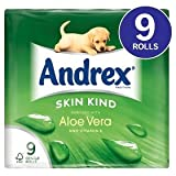 Andrex Skin Kind Enriched with Aloe Vera Toilet Tissue Rolls - 160 Sheets per Roll (9)