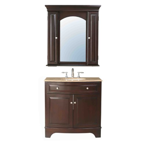 Stufurhome GM-6121-36-TR 36-Inch Amanda Single Sink Vanity in Dark Brown Finish with Travertine Marble Top and Mirror