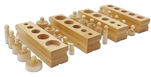 NEW Educational Wooden Toy Montessori Cylinder Socket Early Development Senses - 1