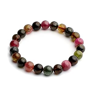 O-stone 3A Natural Tourmaline Love of Rainbow Bracelet Grounding Stone Protection 9mm