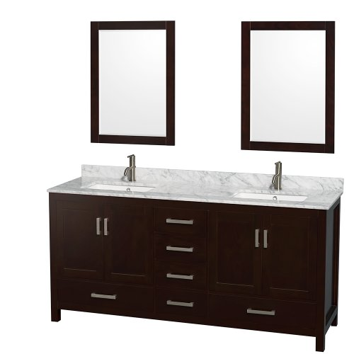Sheffield 72 Inch Double Bathroom Vanity In Espresso, White Carrera Marble Countertop, Undermount Square Sinks, And 24 Inch Mirrors front-586402