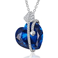 Caperci Created Blue Sapphire Cupids Arrow Heart Pendant 18