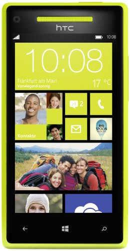 HTC Windows Phone 8X Smartphone (10,9 cm (4,3 Zoll) Touchscreen, Snapdragon, Dual-Core, 1,5GHz, 8 Megapixel Kamera) limelight yellow