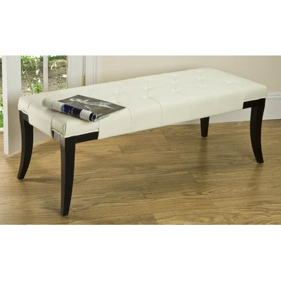 Raley Off-White Tufted Bycast Leather Bench