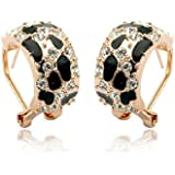 Fashion Plaza Hoop Earings with Black Gemstones and Clear Cubic Zirconia Crystal E362
