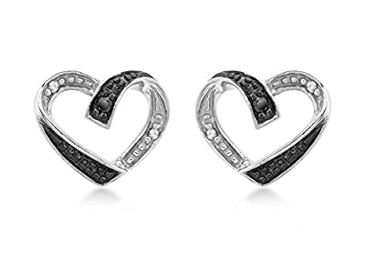 Carissima 9ct White Gold 0.05ct Black and White Diamond Heart Stud Earrings